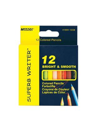 Карандаши цветные Marco Superb Writer 12 цветов короткие 4100H-12
