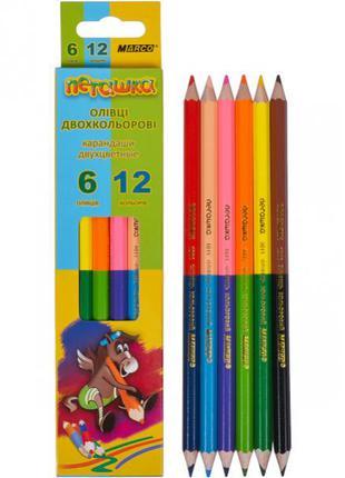 Карандаши цветные Marco Пегашка 12 цветов двухсторонние 1011-6CB