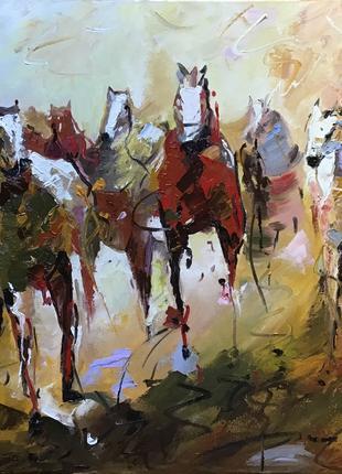 Картина маслом. Абстракция,арт «Лошади»