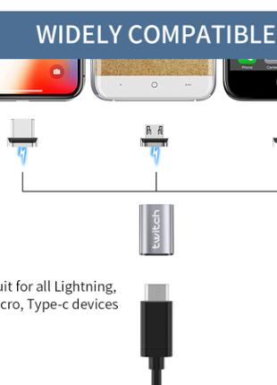 Магнитный адаптер  с micro usb на type C, с micro usb на iOS.