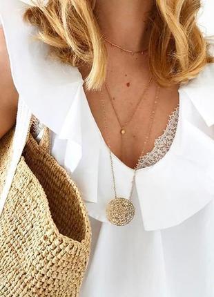 Белая блуза, топ с воланами zara / s