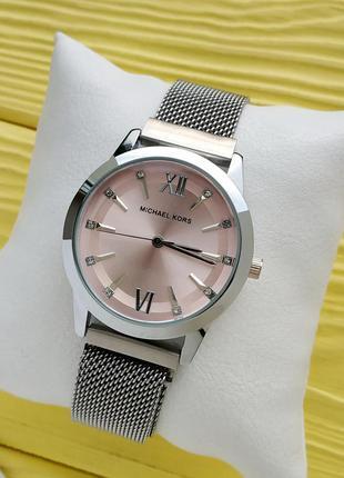 Женские наручные часы серебро с розовым на плетенном браслете ...