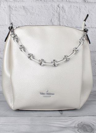 Женская сумочка через плечо velina fabbiano 551650 жемчужно-белая