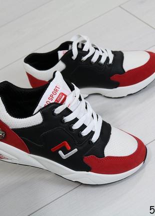 Кроссовки женские для спорта красные с белым и чёрным/ жіночі ...