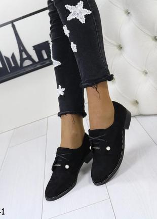 Женские туфли низкий каблук эко замша