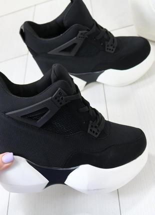 Кроссовки женские чёрные на высокой подошве