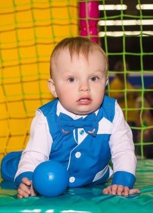 Нарядный костюм на мальчика рубашка, жилетка, брюки, бабочка
