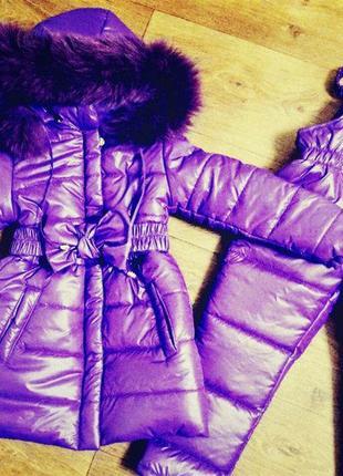 Зимнее пальто и полукомбинезон для девочки