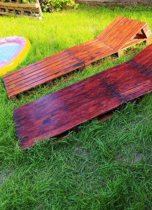 Шезлонг, топчан, лежак деревянный, пляжный, дачный, для бассейна