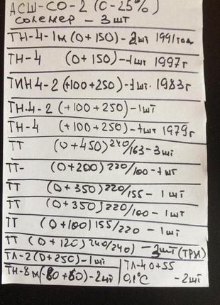 Термометры: ТН4, ТИН4, ТТ, ТТЖ, ТЛ, ТН-8 М,  МИНИМАЛЬНЫЙ, ТМ-2 N3