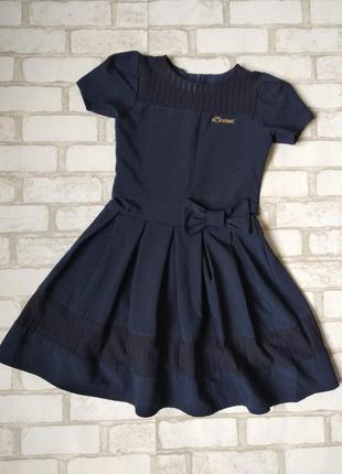 Стильное школьное платье на девочку темно синее