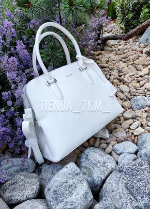 Офисная женская сумка на три отделения david jones 6207-2t белая