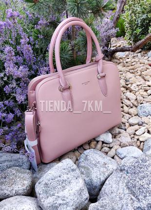 Офисная женская сумка на три отделения david jones 6207-2t роз...