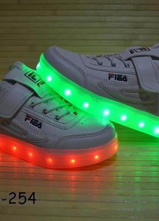 Кроссовки со светящей led подошвой с usb кабелем размеры 26 - 29