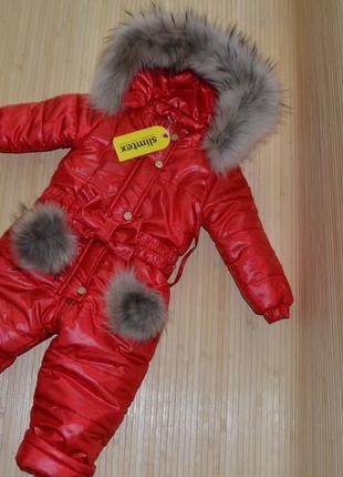 Детский зимний термо комбинезон красный