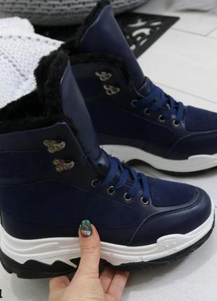 Зимние женские ботинки синие