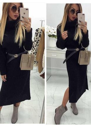 Женское длинное платье вязанное чёрное