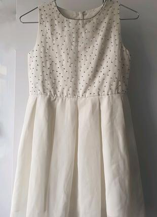 Белое платье с вышивкой бисером H&M