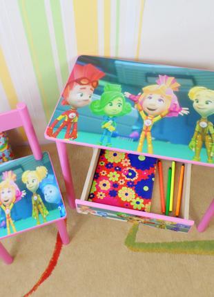 """Детский столик парта стульчик """" Фиксики """" стол стул ящик"""