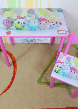 """Детский столик и стульчик """" Малышарики """" стол стул ящик комплект"""