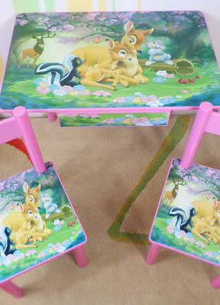 """Детский столик с ящиком и стульчик """" Лесная Поляна """" комплект"""