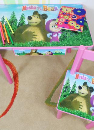 """Детский столик с ящичком и стульчик """"Маша и Медведь"""""""