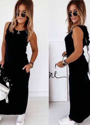 Черное платье майка с капюшоном / американский креп / цвета / ...