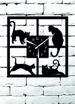 """Настенные Дизайнерские Часы""""Котики"""" Из Дерева,Лофт,Панно"""