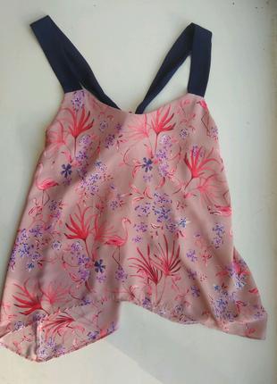Блуза розовая топ на бретелях фламинго  George