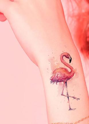 Флештату, переводные наклейки, временные татуировки, фламинго