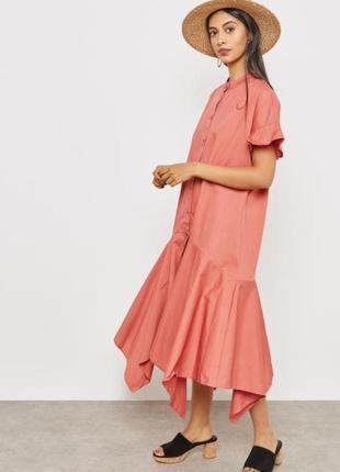 Стильное летнее платье рубашка миди mango. oversize