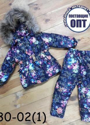 Зимний термо комплект для девочки курточка и штаны