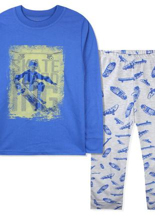 Пижама для мальчика, синяя. скейтбордист.