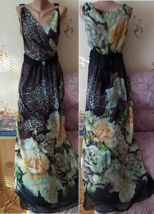 Роскошное  шифоновое платье в пол