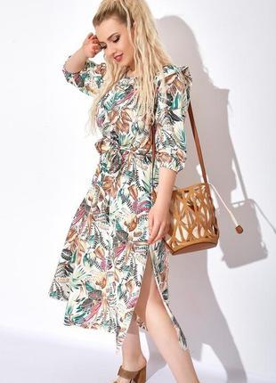 Платье женское большого размера, платье батал, платье миди