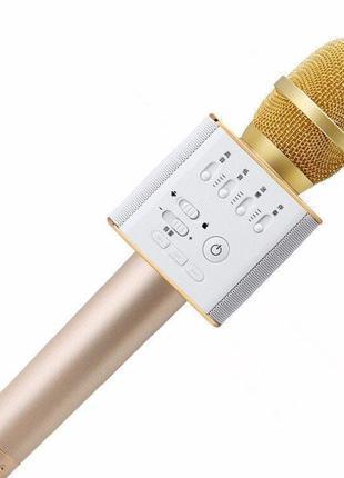 Микрофон караоке Q9 портативный беспроводной с динамиком и чехлом