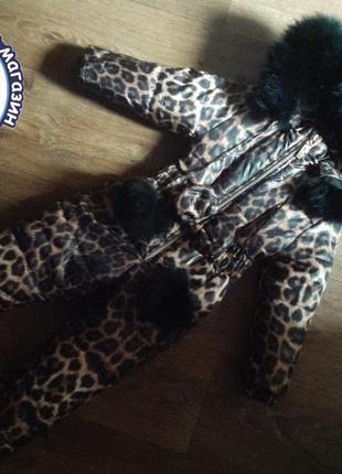 Зимний термо комбинезон леопардовый принт для девочки размеры ...