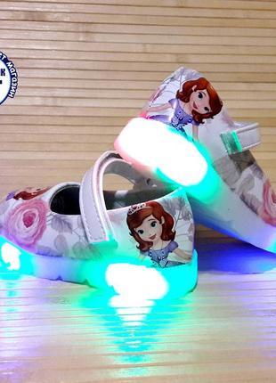 Детские туфли для девочки со светящейся подошвой 21-26 принцес...