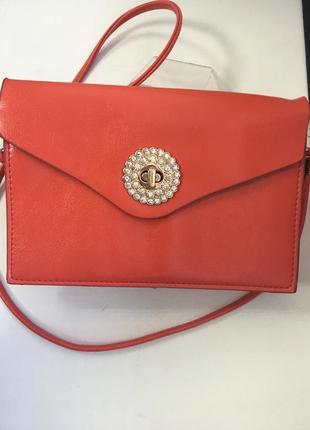 Женская маленькая красная сумочка код 1612