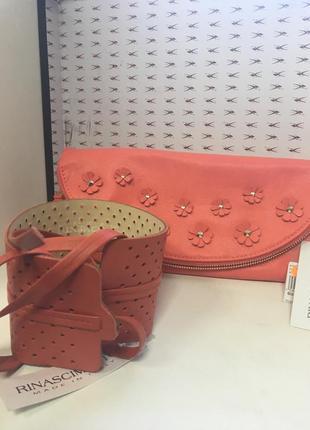 Женская сумочка- клатч брендовый коралловый rinascimento код 135