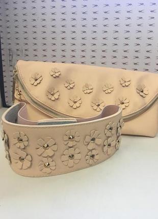 Женская сумочка- клатч брендовая пудровая  rinascimento код 134
