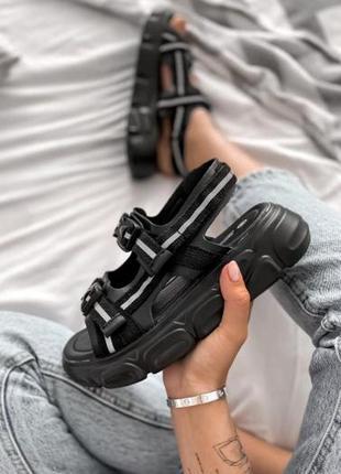 Женские летние босоножки на платформе ◈ сандалии черного цвета😍