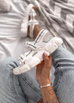 Женские летние босоножки на платформе ◈ сандалии белого цвета😍