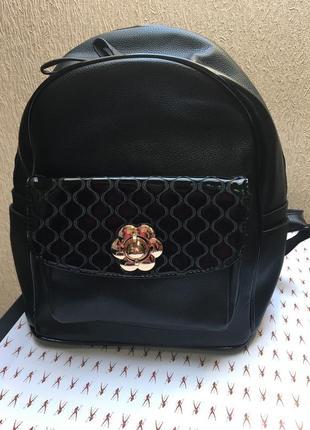 Рюкзак женский черного цвета эко-кожа, качественный код 177