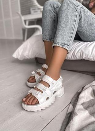 Женские летние босоножки fila white ◈ сандалии белого цвета 😍