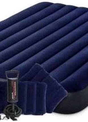 Надувной матрас для отдыха, 64765, 2 подушки, синий - Іntex