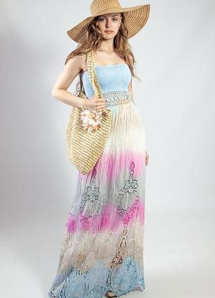 Женское летнее  натуральное платье-сарафан в пол код R-240