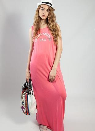 Женское летнее платье в пол коралловое спортивное код С-1510