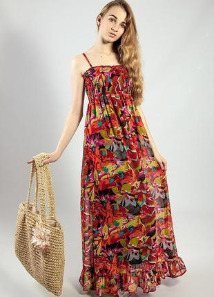 Платье-сарафан в пол летний цветной красивый код М-1955
