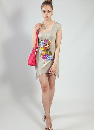 Платье-туника летнее xtsy короткий рукав с принтом код Е-21292